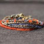 Assortiment bracelets laiton brut et perles de cornaline, pyrite, iolite - Collection Été Indien - Myo jewel- créatrice de bijoux fins- Nantes