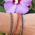 Assortiment bracelets laiton brut et perles de Cornaline, Pyrite, Iolite - Orange et bleus - Collection Été Indien - Myo jewel - créatrice bijoux fins - Nantes