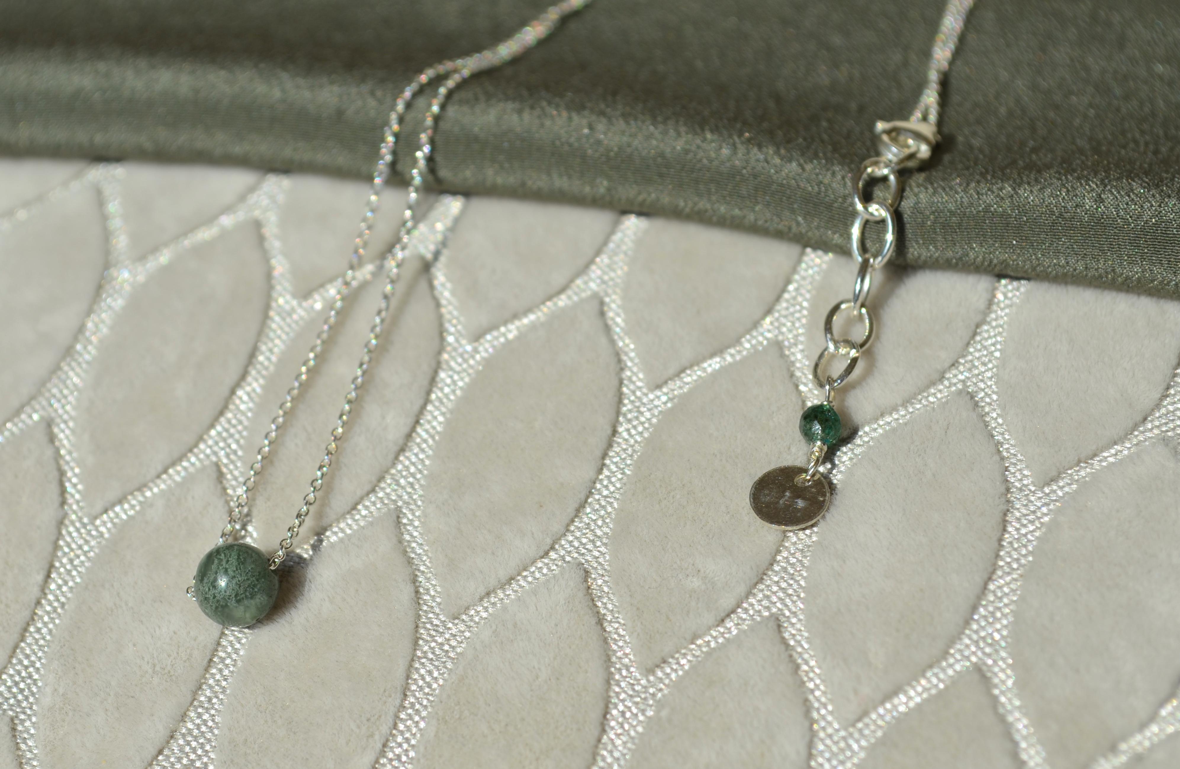 Collier perle ronde agate et argent massif , Bijoux fins , Argent massif ,  Créatrice Nantes