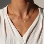 Collier Barre martelé horizontale - Collection Poudre de Soleil Myo jewel- Bijoux - Laiton brut doré - Créatrice Nantes