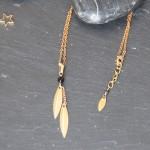 Collier lamelles et perle d'onyx noire - Collection So chic - Myo jewel- Bijoux - Laiton brut doré - Créatrice Nantes